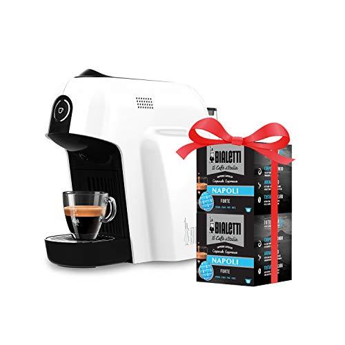 Bialetti Macchina Caffè Espresso Smart per Capsule in Alluminio sistema Bialetti il Caffè d'Italia, White + 32 CAPSULE OMAGGIO