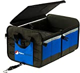 Higher Gear Car Trunk Organizer - Trunk Organizers for SUV, Truck and Sedan - Sturdy Detachable Lid, 4 Compartments, 10 Exterior Pockets, 2 Tie-Down Straps, Spiked No Slip Feet (Blue)
