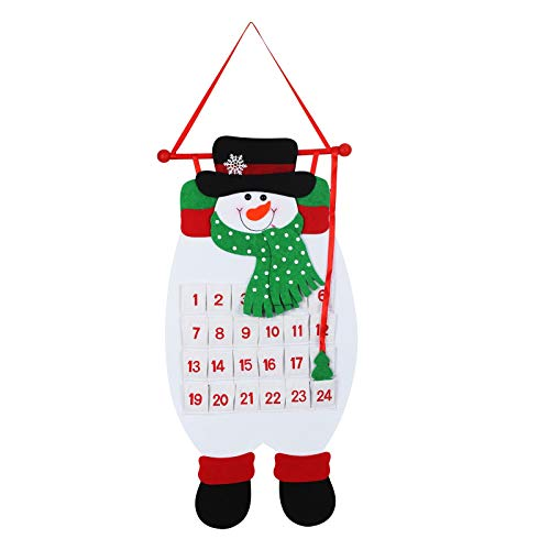 TAZEMAT Christmas Advent Hanging Calendar Xmas Felt Snowman Countdown Calendar with 24 Pockets Reusable Fabric for Kids Gifts Wall Door Hanging Decoration Christmas Home Office Holiday Decor