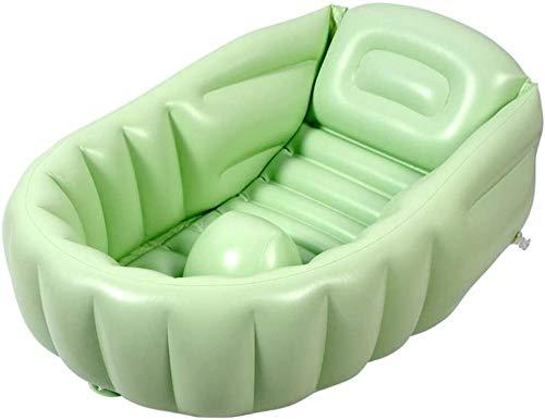 TGFVGHB Inflable del Recorrido Bebé de la Tina de hidromasaje Puede Sentarse y Lay Espesados Grandes Infantil Cuenca portátil Plegable 45 ° de inclinación del Respaldo (Color : Green)