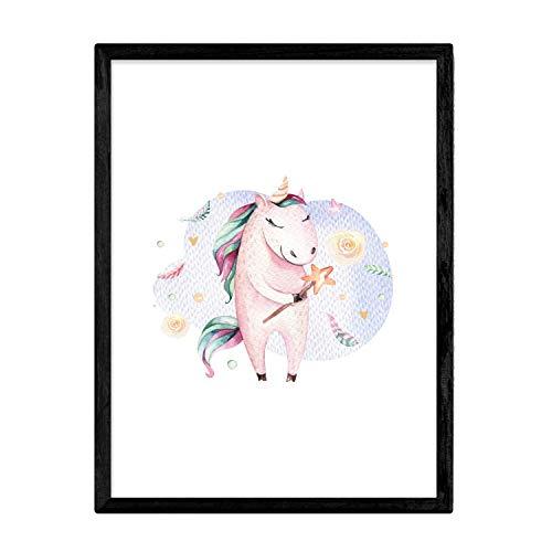 Poster met illustratie van het dier. Laken met dierenfoto's voor kinderen. Blije Eenhoorn. A3-formaat zonder lijst