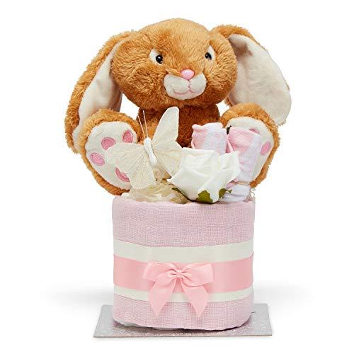 Pannolino Cake Girl - Rosa Mussola Quadrato Avvolge 9 Pannolini Calzini Topped con un bel coniglietto peluche