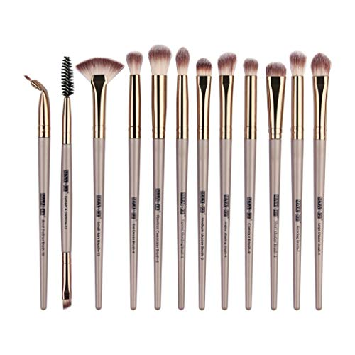 Juego de 12 brochas de maquillaje profesionales sintéticas prémium en polvo, crema líquida, sombra de ojos, marcador, sombra de ojos