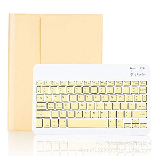 Keyboard Case For iPad Pro 11 Cover with Pencil Slot Touchpad Bluetooth Keyboard for iPad 10.2/10.5 Stand Case-Yellow (backlight)_iPad pro 12.9 2018/2020