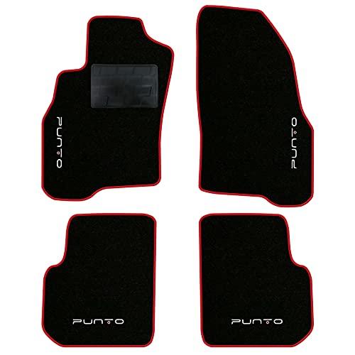 QUEMAR Kit Tappetini Auto per Punto Evo 2009-2012 / Set di Tappeti in Moquette e Gomma su Misura (2 Anteriori + 2 Posteriori) / 4 Ricami Personalizzati/Colori Personalizzabili (Bordo Rosso)