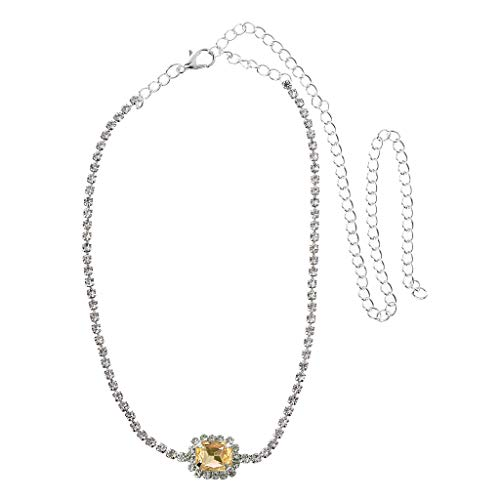 Pendant Necklace (1 set)Luxury Square Crystal Stone Choker Shiny Fully White Cubic Zircon Necklace Women,The gift for yourself, family and friends.Yellow silver B