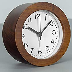 3-Inches Round Wooden Alarm Clock with Arabic Numerals, Non-Ticking Silent, Backlight, Battery Operated, Brown