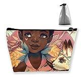 Bolsa de maquillaje de viaje para mujer, afroamericana, afro, negro, flores y niñas, bolsa de maquillaje, bolsa organizadora con cremallera para mujeres y hombres