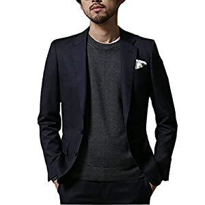 (エブレドレス)everydress 春 夏 最新 メンズ ジャケット サマージャケット ジャケット サマー メンズ テーラードジャケット (XXL, ネイビー&ブラック)