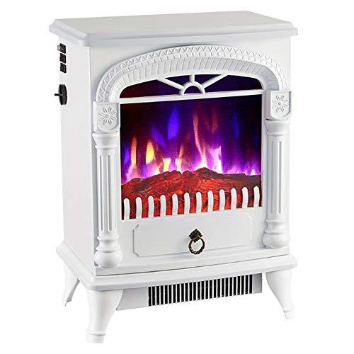 ASY Elektro-Kamin Heizung mit realistischem Flammenbild, Fernbedienung Betrieb, Überhitzungsschutz, 2 Heizstufen 1000-2000W (Color : White)