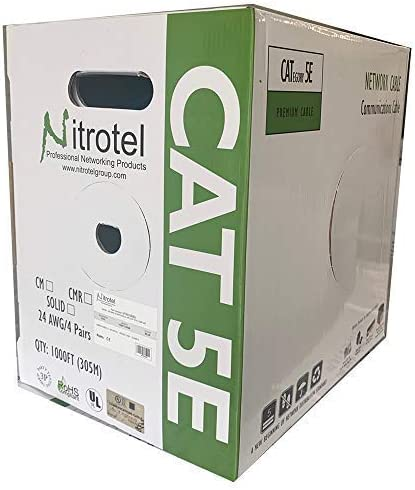 Nitrotel Cat 6 Enhanced UTP Outdoor Cable 100/% Copper 1000ft Black CMX Rated