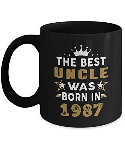 N\A Taza tío iroh - el Mejor tío nació en 1987 Tazas de café - Coloridos Regalos de cumpleaños número 30 ider para tío, Hombres - Regalo de Anuncio de tío - Taza de té Negro