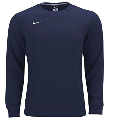 Nike Mens Club Fleece Crew Sweater (Navy/White, Small)