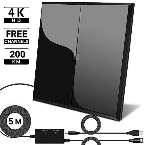 GEEKERA 2020 - Antenna per interni HDTV Ariel, 130 Mile per TV HD 4K 1080p a 360°, amplificatore di ricezione segnale costante multidirezionale, cavo