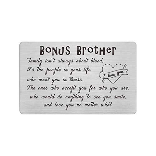 Step Brothers Wallet Card from Sister, Family isn't Always About Blood, Bonus Brother Stepbrother Cards, Like a Brother, Brother in Law, Adopted Brother, Christmas Birthday Presents