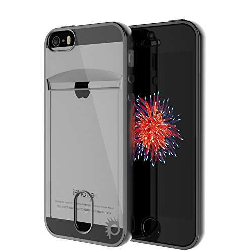 iPhone SE / 5S / 5 Case, PUNKcase [Lucid Series] Slim Fit Protective Armor Cover w/Scratch Resistant PUNKSHIELD Screen Protector-Card Slot Design for Apple iPhone SE/iPhone 5s & iPhone 5 [Black]