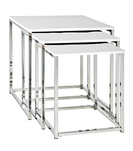 Haku Möbel 33383 Lot de 3 Tables Basse Acier/MDF Chromé-Blanc 39 x 39 x 42 cm