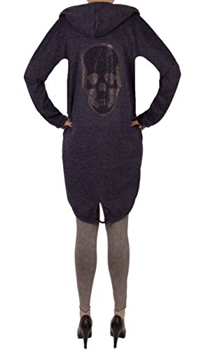 Fashion You Want Damen Cardigan Größe 38/40 bis 48/50 verfügbar offener Cardigan Strickjacke Bolero Poncho Blazer mit Trendmotiv Stern Anker Totenkopf Skull (44/46, Skull blau)