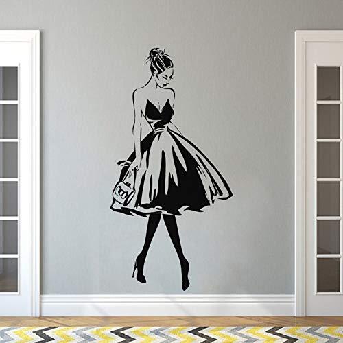 Tianpengyuanshuai Wandaufkleber Frau Gesicht Mode Stil Vinyl Wandaufkleber Kleidung Design Wand Beauty Salon Dekoration 34X68cm