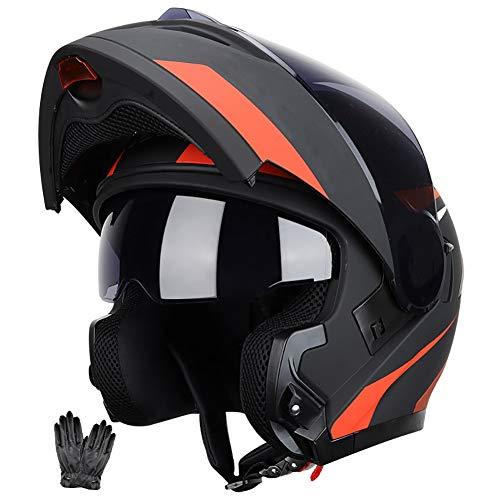 Casco Moto Modular Cascos Integral Flip Up Integradas Unas Gafas de Sol Escamoteables Doble Anti Niebla Visera Buen Sellado ECE 22-05 Aprobado Ligera para Adulto 59-64CM