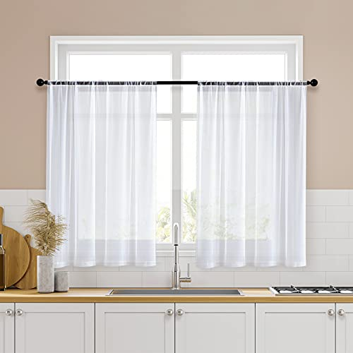 MRTREES White Short Sheer Curtains 34 x 36 inch Length Kitchen Tier Curtains Rod Pocket Sheers Cafe Curtains Voile Bathroom Small Half Window Curtains 2 Panels