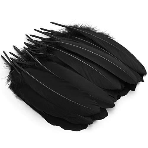 Mwoot Plumas de Ganso, 50pcs Natural Plumas para Manualidades Decoración para Disfraces Hats, Hogar Bricolaje, Ropa Casa Fiesta (accesorio de disfraz)-Negro