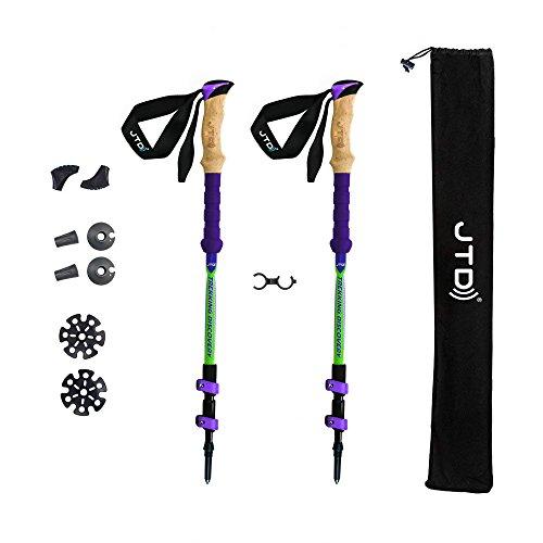 JTD bastoncini da trekking ed escursionismo bastoni da trekking, flip-lock in fibra di carbonio, sezioni telescopiche, pieghevole e anti-shock per alpinismo, trekking, passeggiate - 2 confezione