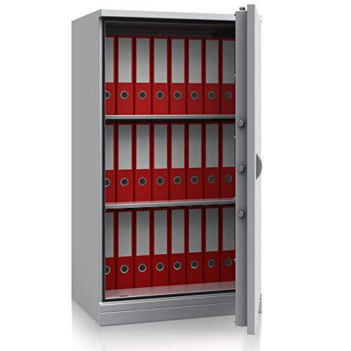 SafeHero Feuerschutz-Stahlbüroschrank Secureo Condor Basic 1   für 24 DIN A4-Ordner   Schlüsselschloss   Feuerschutzisolierung nach DIN 4102   H1200xB670xT500