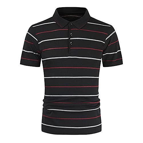 Henley Camisa Hombre Moderna Clásica Rayas Estampado Hombre Shirt Verano Básica Ajustado Elásticos Botón Placket Hombre Polo Shirt Casual Acampar Pesca Hombre Manga Corta