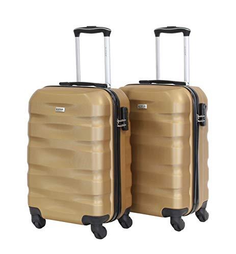 Alistair Fly - Juego de 2 Maletas para cabinas (55 cm, ABS, ultraligeras y Resistentes, 4 Ruedas) Dorado Gold-Gold