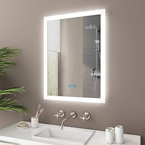 IMPTS LED Bad Spiegel 50x70cm Badspiegel mit Beleuchtung Touchschalter Antibeschlag Dimmbar neutralweiss IP44, Lichtspiegel Badezimmerspiegel Wandspiegel