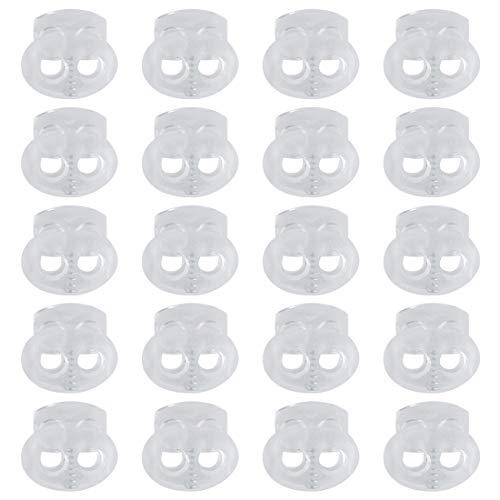 Sourcing map Cordone Cerraduras tapón muelle cierre doble orificio dispositivo fijación tapón cuerda terminal para cordón ropa bolsos camping cordones zapatos bolsos claros 20 unidades