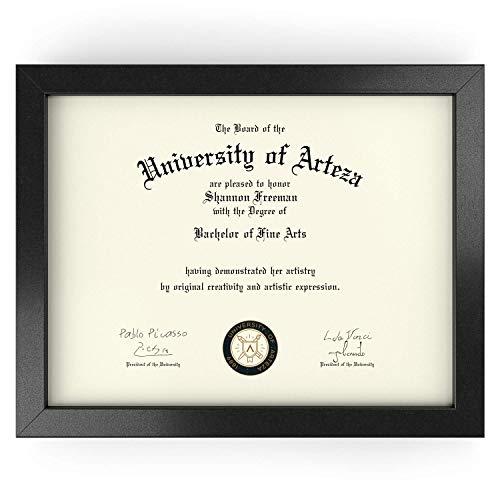ARTEZA Marco para Diplomas | 21,6 x 27,9 cm | Portafotos con Acabado en Madera Maciza | Frontal de Cristal | Marcos de Foto para enmarcar Diplomas, certificados y Otros Documentos