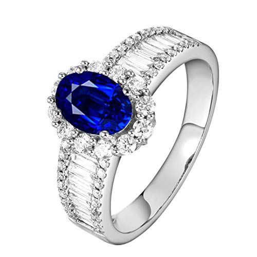 Ubestlove Women Rings White Gold 90Th Birthday Gifts For Grandma 1.0Ct Oval Sapphire Ring 1Ct I 1/2