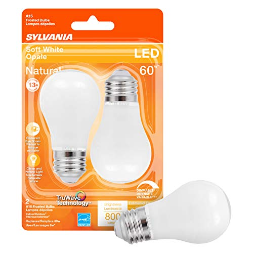 SYLVANIA LED TruWave Natural Series Ceiling Fan / Fixture Light Bulb, 60W A15 Soft White Medium Base, Dimmable, Frosted - 2 Pack