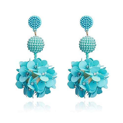 Mayanyan Lady-Europa und die Vereinigten Staaten übertrieben Reine Handarbeit Reis Perlen Harz Pailletten Blume Ohrringe