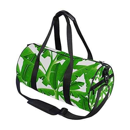 Bolsa de deporte para gimnasio, diseño de árbol de plátano tropical, verde, con compartimento para zapatos y bolsillo húmedo para mujeres o hombres