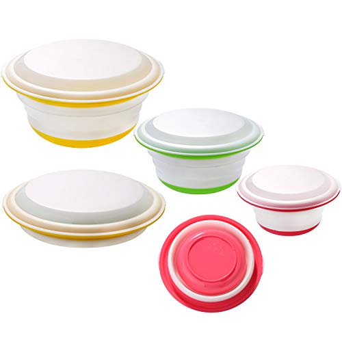 beautyshow Lot de 3 bols pliables en silicone avec couvercle - Pour camping, pique-nique, cuisine, extérieur, randonnée, voyage