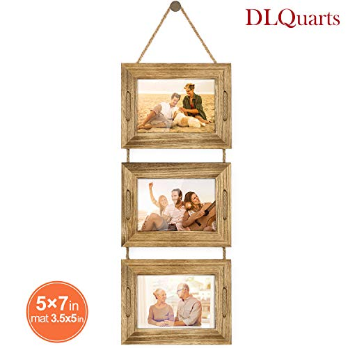DLQuarts Collage Hanging Picture Photo Frame 5x7, 3-Frame Set On Hanging Rope, 3.5x5 with Mat or 5x7 Without Mat, Rustic Solid Wood Photo Frame Carbonized Black