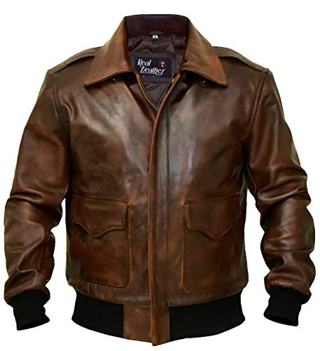 A-2 Aviator jacket Cowhide Leather Bomber Aviator Flight Jacket - Aviator Brown Leather Jacket Men (A2 Aviator Flying Tiger Jacket, Large)