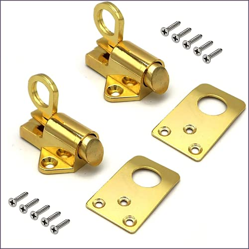 Stainless Steel Automatic Spring Loaded Latch, 2 set Spring Load Bolt Latch, Aluminum Alloy Security Gate Lock, Automatic Window Gate Lock Spring Load Bolt Latch (Gold)