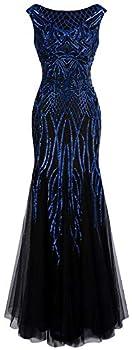 Angel-fashions Women s Pattern Sequin Bateau Cap Sleeve Flapper Mermaid Evening Dress  XL Blue Black