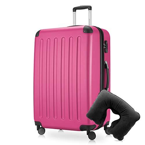 Hauptstadtkoffer - Spree Hartschalen-Koffer-XL Koffer Trolley Rollkoffer Reisekoffer Erweiterbar, 4 Rollen, TSA, 75 cm, 119 Liter, Pink inkl. Reise Nackenkissen