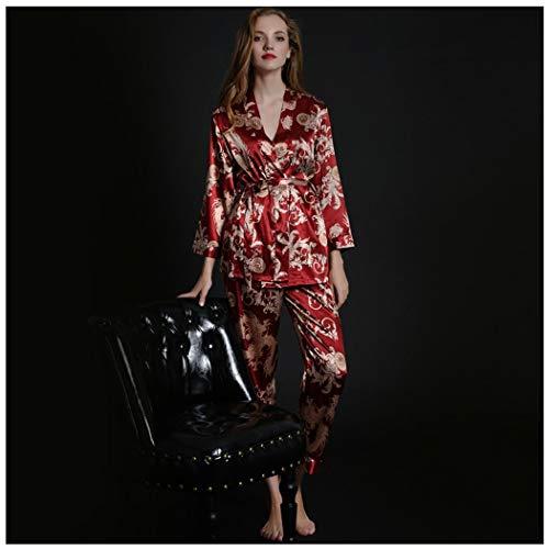 AXIANQIPJS pyjama voor mannen, jurk, badjas met lange mouwen, slank, zijde, voor bruiloft, voor jongeren, bruidegom, pyjama, vrouwen, paar, kostuum, rood, sexy nachtkleding