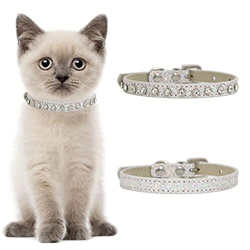 HACRAHO Collar de piel con diamantes de imitación, 2 collares de imitación para mascotas con campana, ajustable, con estilo de seguridad para perros y gatos pequeños, color plateado