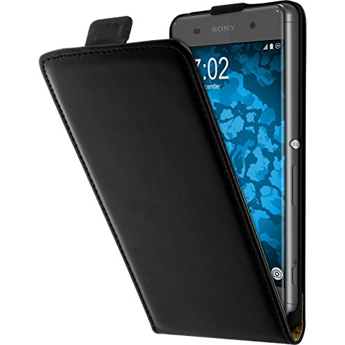 PhoneNatic Kunst-Lederhülle kompatibel mit Sony Xperia XA - Flip-Hülle schwarz + 2 Schutzfolien