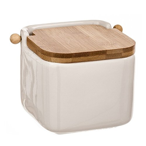 dcasa - Salero blanco cerámica con tapa de bambú. 12x12x11cm