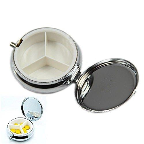 Seguryy CSUG - Scatola portapillole in metallo, contenitore per tenere in ordine medicine o accessori per fai da te, colore: argento