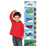 """Lillian Vernon Personalized Airplane Canvas Growth Chart - 10"""" x 40""""L, up to 58"""" H Boys Hanging Height Ruler, Room D?cor"""