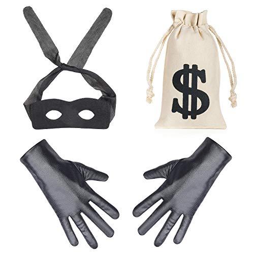 Beefunny Räuber Kostüm Einbrecher Kostüme Kostümzubehör Black Eye Mask Handschuhe Geld Tasche Kordelzug Dollarzeichen Symbol für Geschenk Spielzeug Parteibevorzugung (A)
